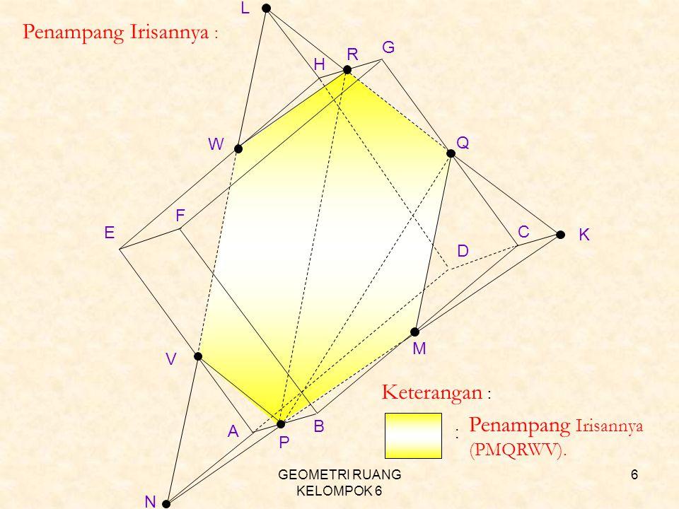 GEOMETRI RUANG KELOMPOK 6 7 Lukislah sebuah kubus ABCD.EFGH dan limas T.EFGH dengan bidang ACH frontal, AC horisontal, sudut surut 45° perbandingan ortoghonal ½, panjang sisi a satuan,.