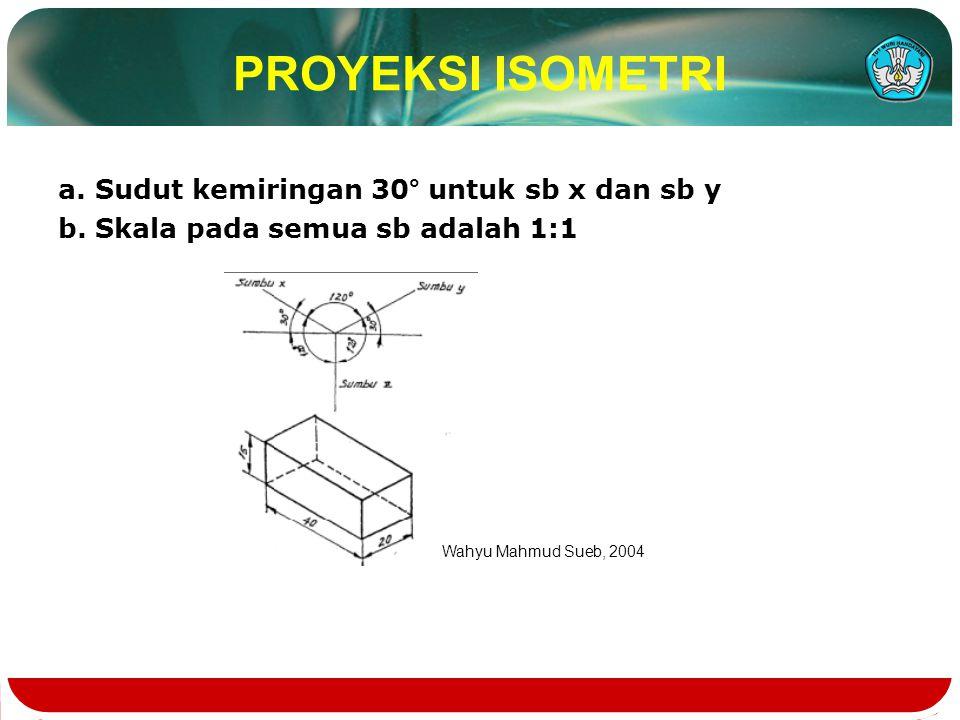 PROYEKSI ISOMETRI a. Sudut kemiringan 30° untuk sb x dan sb y b. Skala pada semua sb adalah 1:1 Wahyu Mahmud Sueb, 2004