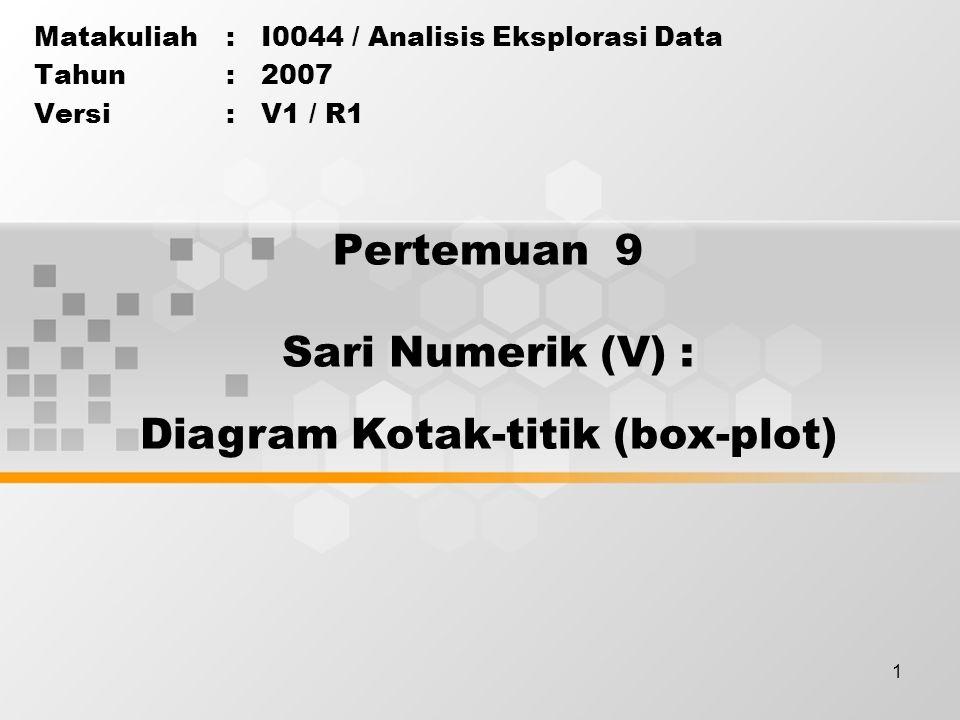 12 > Sampai saat ini Anda telah mempelajari bagian ringkasan sari numerik, yaitu 5 ringkasan sari numerik, dan penyusunan diagram kotak-titik (Box- Plot) Masih banyak diagram lainnya yang belum dibicarakan pada materi di atas Anda dapat mempelajari contoh lainnya dari materi penunjang