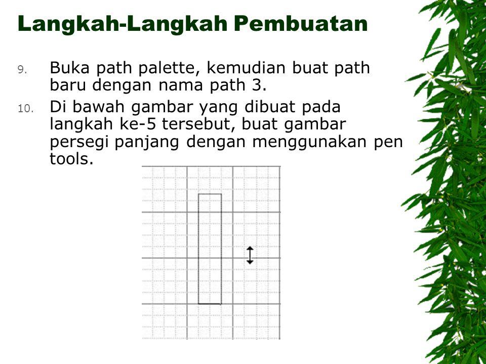 Langkah-Langkah Pembuatan 9. Buka path palette, kemudian buat path baru dengan nama path 3.
