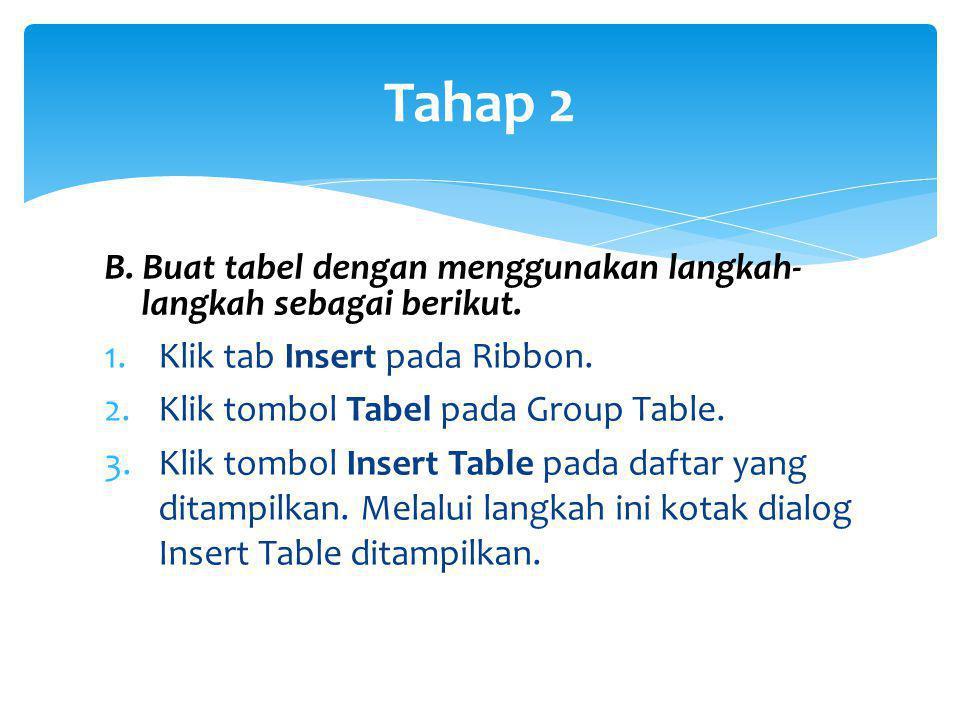Tahap 2 B. Buat tabel dengan menggunakan langkah- langkah sebagai berikut. 1.Klik tab Insert pada Ribbon. 2.Klik tombol Tabel pada Group Table. 3.Klik