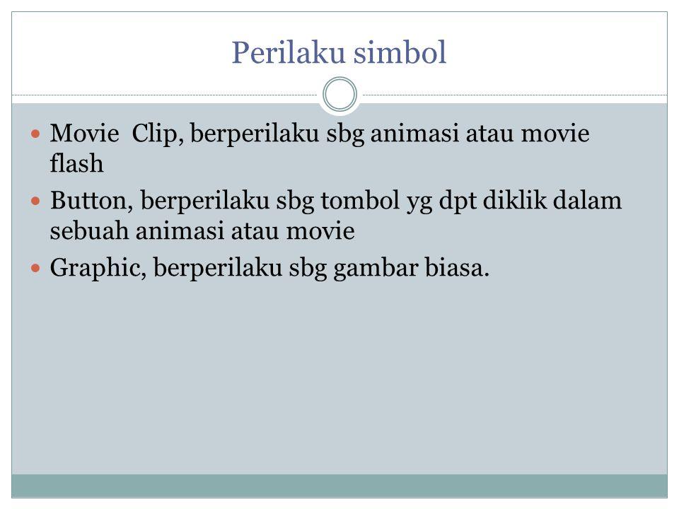 Perilaku simbol Movie Clip, berperilaku sbg animasi atau movie flash Button, berperilaku sbg tombol yg dpt diklik dalam sebuah animasi atau movie Grap