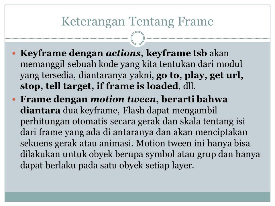 Keterangan Tentang Frame Keyframe dengan actions, keyframe tsb akan memanggil sebuah kode yang kita tentukan dari modul yang tersedia, diantaranya yak