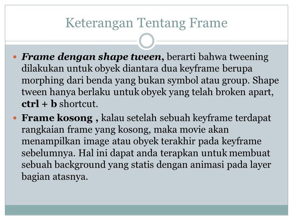 Keterangan Tentang Frame Frame dengan shape tween, berarti bahwa tweening dilakukan untuk obyek diantara dua keyframe berupa morphing dari benda yang