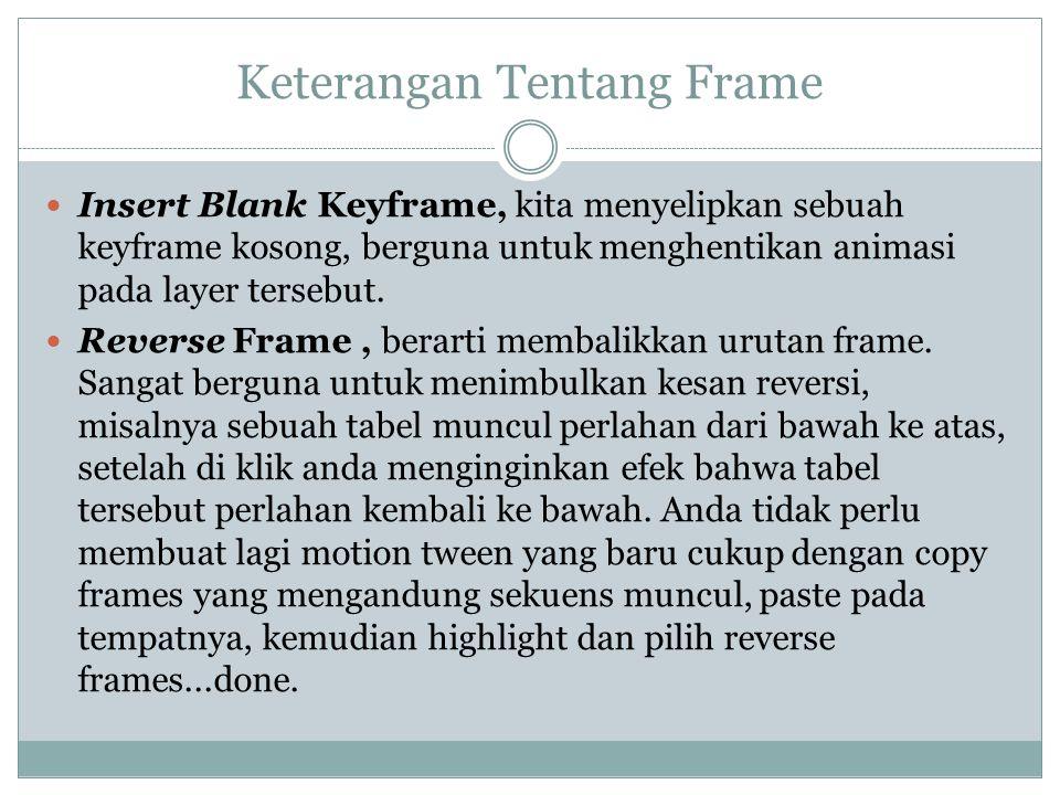 Keterangan Tentang Frame Insert Blank Keyframe, kita menyelipkan sebuah keyframe kosong, berguna untuk menghentikan animasi pada layer tersebut. Rever