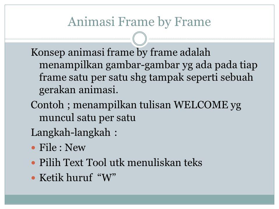 Animasi Frame by Frame Konsep animasi frame by frame adalah menampilkan gambar-gambar yg ada pada tiap frame satu per satu shg tampak seperti sebuah g