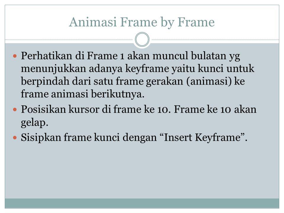Animasi Frame by Frame Perhatikan di Frame 1 akan muncul bulatan yg menunjukkan adanya keyframe yaitu kunci untuk berpindah dari satu frame gerakan (a