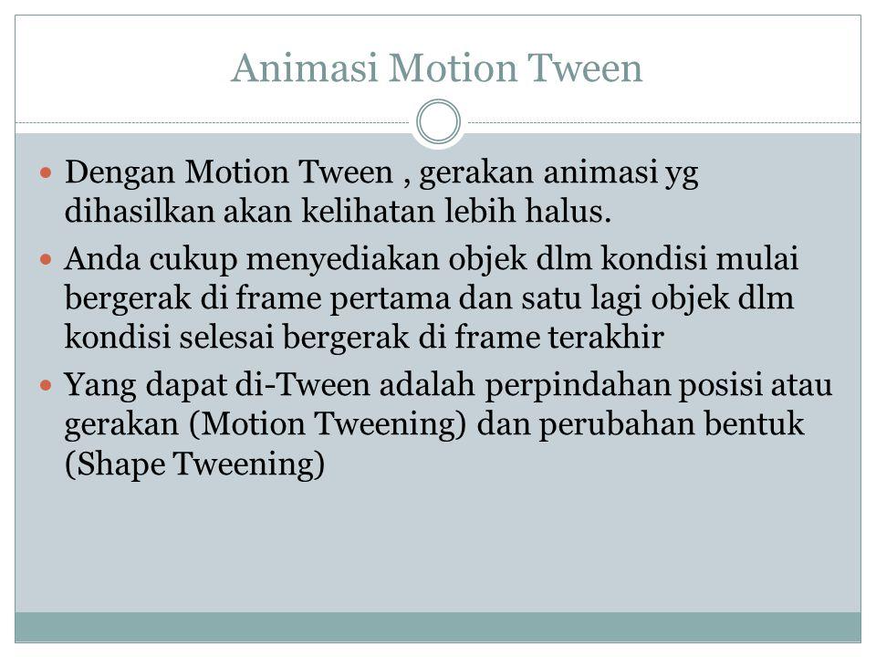 Animasi Motion Tween Dengan Motion Tween, gerakan animasi yg dihasilkan akan kelihatan lebih halus. Anda cukup menyediakan objek dlm kondisi mulai ber