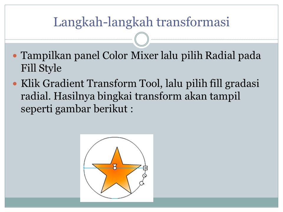 Langkah-langkah transformasi Tampilkan panel Color Mixer lalu pilih Radial pada Fill Style Klik Gradient Transform Tool, lalu pilih fill gradasi radia