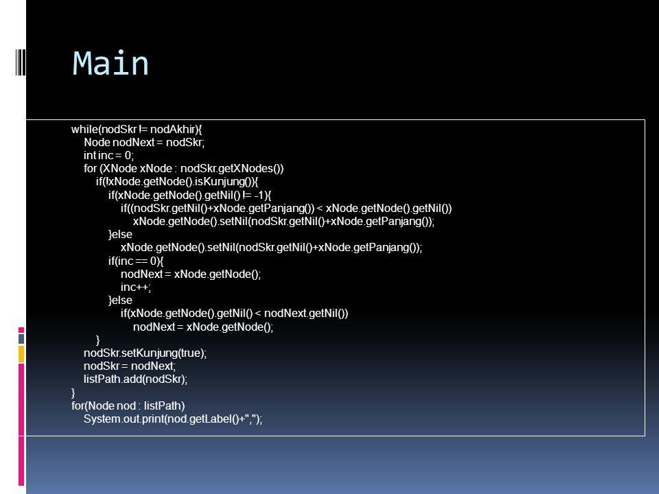 Main while(nodSkr != nodAkhir){ Node nodNext = nodSkr; int inc = 0; for (XNode xNode : nodSkr.getXNodes()) if(!xNode.getNode().isKunjung()){ if(xNode.