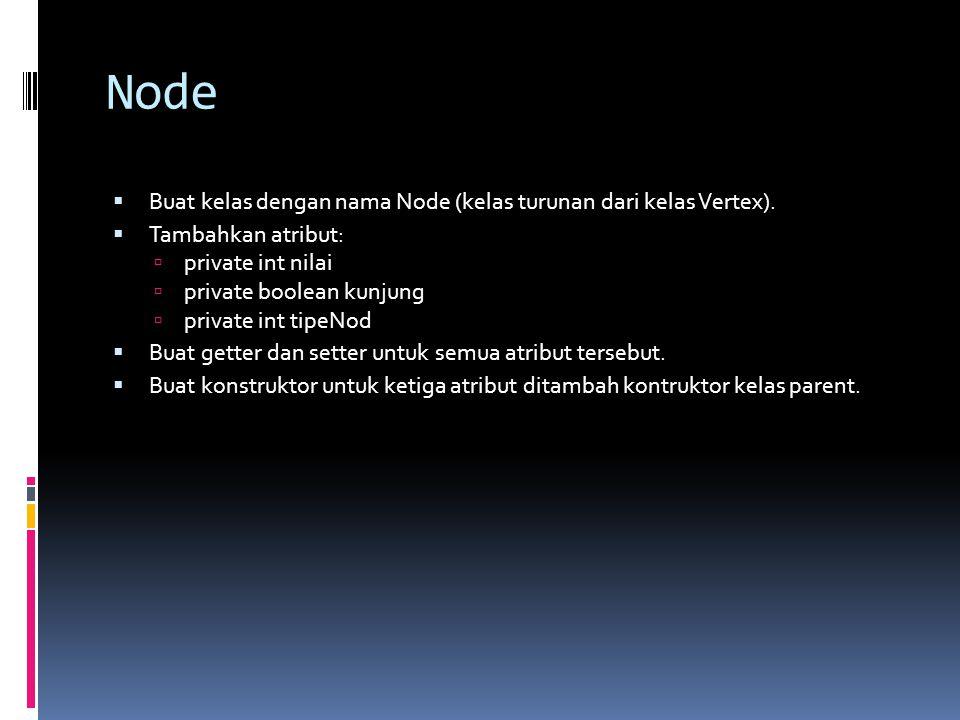 Node  Buat kelas dengan nama Node (kelas turunan dari kelas Vertex).  Tambahkan atribut:  private int nilai  private boolean kunjung  private int