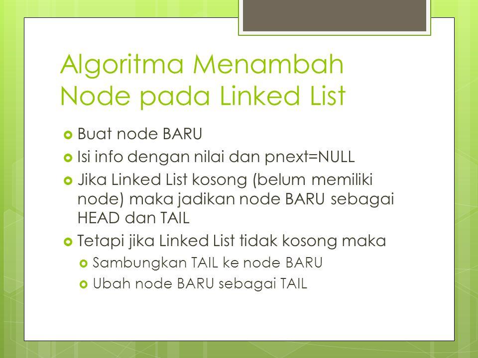Algoritma Menambah Node pada Linked List  Buat node BARU  Isi info dengan nilai dan pnext=NULL  Jika Linked List kosong (belum memiliki node) maka