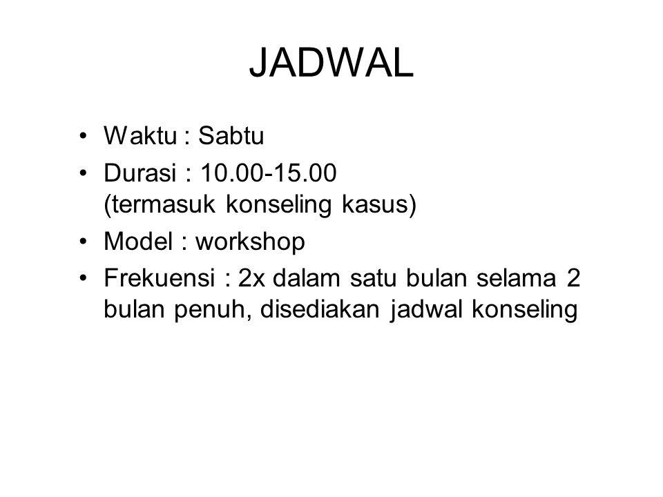 JADWAL Waktu : Sabtu Durasi : 10.00-15.00 (termasuk konseling kasus) Model : workshop Frekuensi : 2x dalam satu bulan selama 2 bulan penuh, disediakan jadwal konseling