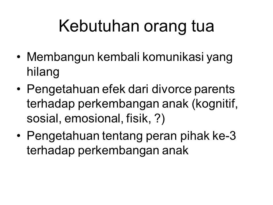 Kebutuhan orang tua Membangun kembali komunikasi yang hilang Pengetahuan efek dari divorce parents terhadap perkembangan anak (kognitif, sosial, emosional, fisik, ) Pengetahuan tentang peran pihak ke-3 terhadap perkembangan anak