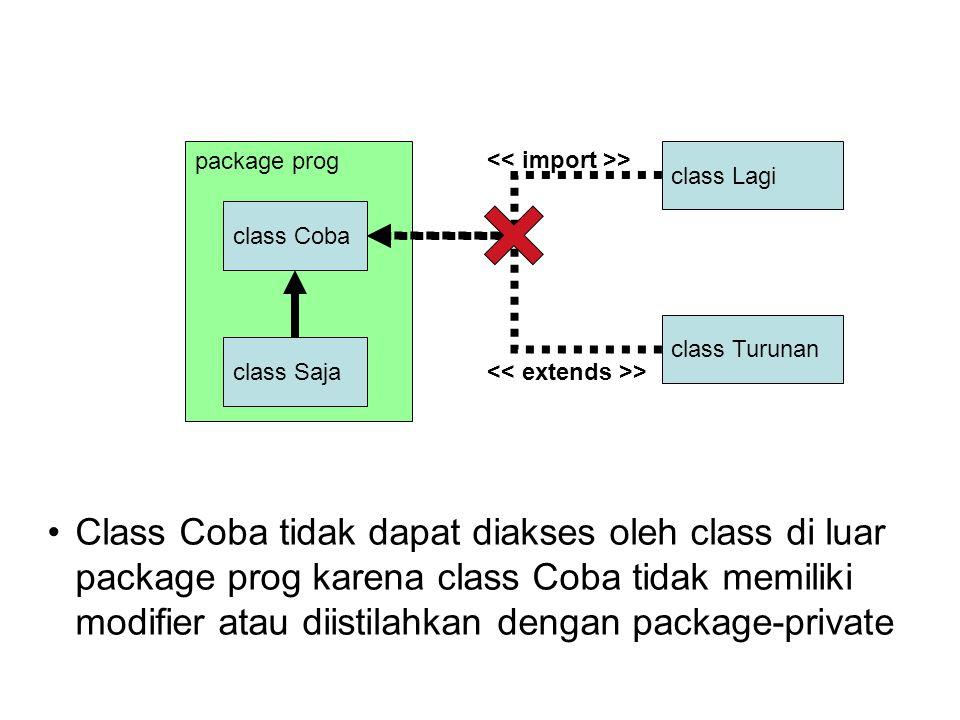 class Lagi package prog class Coba class Saja Class Coba tidak dapat diakses oleh class di luar package prog karena class Coba tidak memiliki modifier atau diistilahkan dengan package-private class Turunan >