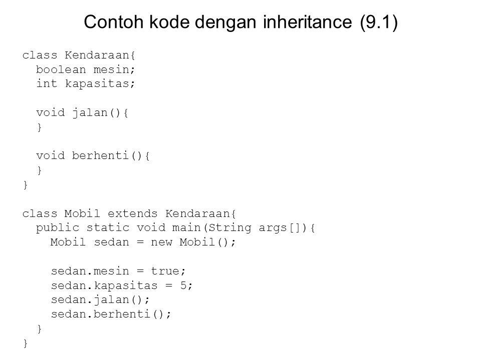 Contoh kode dengan inheritance (9.1) class Kendaraan{ boolean mesin; int kapasitas; void jalan(){ } void berhenti(){ } class Mobil extends Kendaraan{ public static void main(String args[]){ Mobil sedan = new Mobil(); sedan.mesin = true; sedan.kapasitas = 5; sedan.jalan(); sedan.berhenti(); }
