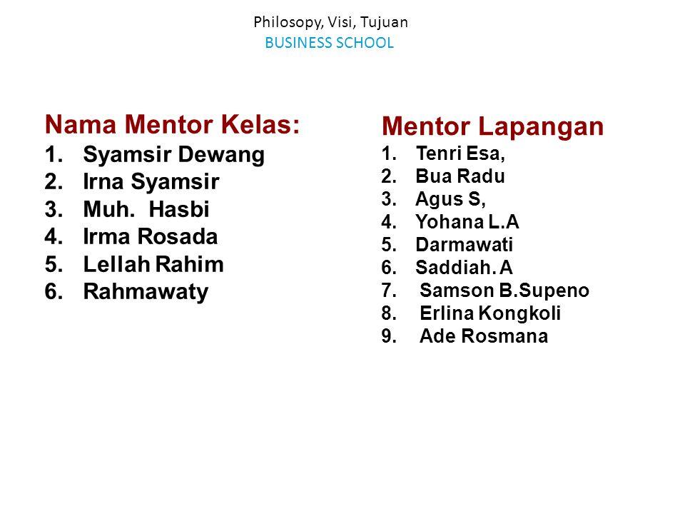 Philosopy, Visi, Tujuan BUSINESS SCHOOL Nama Mentor Kelas: 1.Syamsir Dewang 2.Irna Syamsir 3.Muh. Hasbi 4.Irma Rosada 5.Lellah Rahim 6.Rahmawaty Mento
