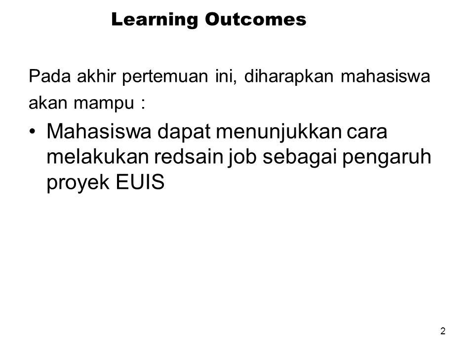 2 Learning Outcomes Pada akhir pertemuan ini, diharapkan mahasiswa akan mampu : Mahasiswa dapat menunjukkan cara melakukan redsain job sebagai pengaruh proyek EUIS