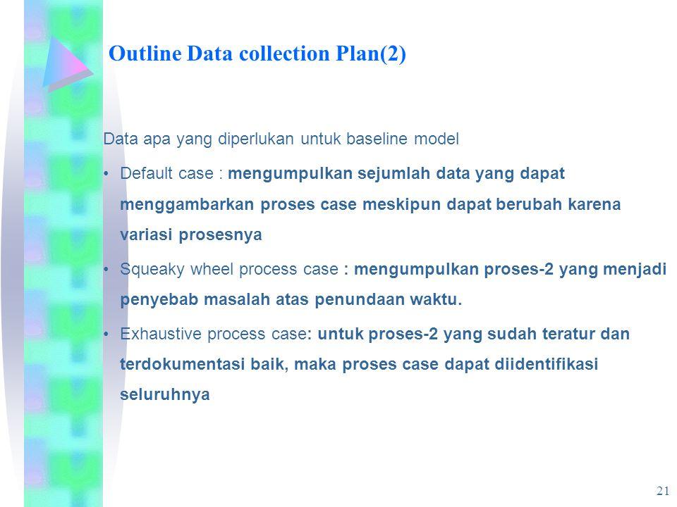 21 Outline Data collection Plan(2) Data apa yang diperlukan untuk baseline model Default case : mengumpulkan sejumlah data yang dapat menggambarkan proses case meskipun dapat berubah karena variasi prosesnya Squeaky wheel process case : mengumpulkan proses-2 yang menjadi penyebab masalah atas penundaan waktu.