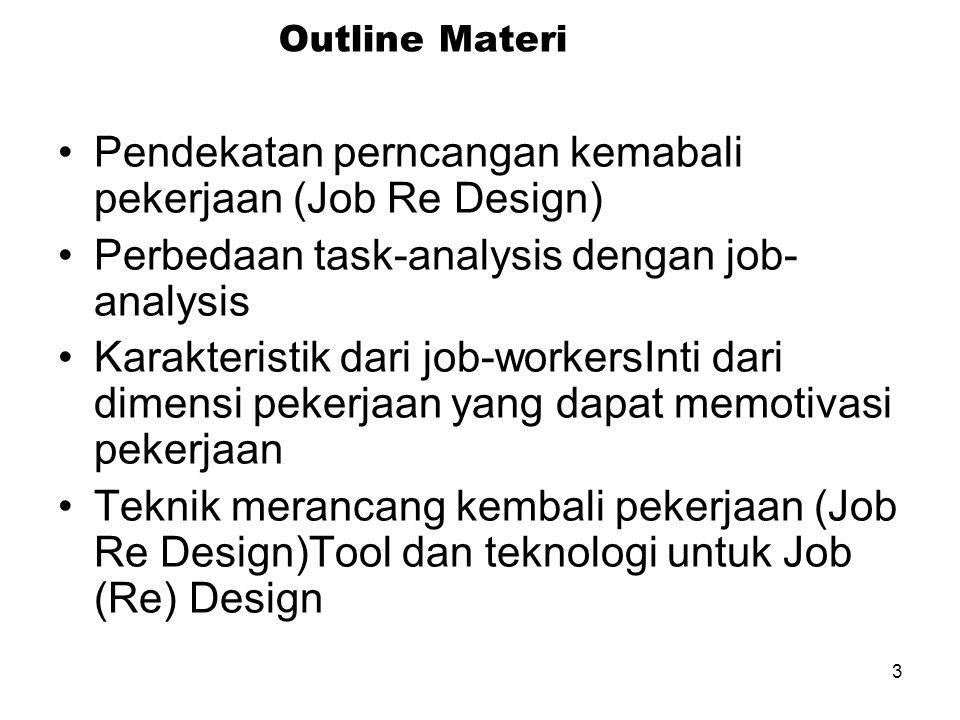 3 Outline Materi Pendekatan perncangan kemabali pekerjaan (Job Re Design) Perbedaan task-analysis dengan job- analysis Karakteristik dari job-workersInti dari dimensi pekerjaan yang dapat memotivasi pekerjaan Teknik merancang kembali pekerjaan (Job Re Design)Tool dan teknologi untuk Job (Re) Design
