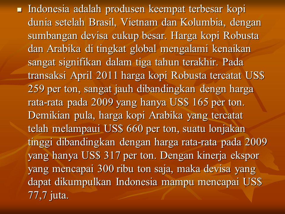 Indonesia adalah produsen keempat terbesar kopi dunia setelah Brasil, Vietnam dan Kolumbia, dengan sumbangan devisa cukup besar.