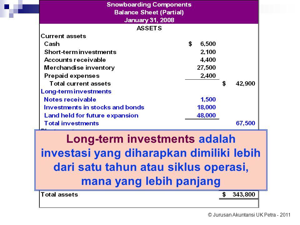 © Jurusan Akuntansi UK Petra - 2011 Long-term investments adalah investasi yang diharapkan dimiliki lebih dari satu tahun atau siklus operasi, mana yang lebih panjang