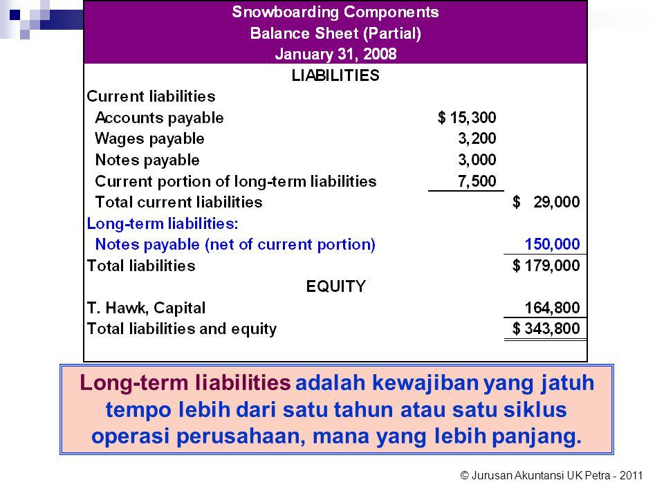 © Jurusan Akuntansi UK Petra - 2011 Long-term liabilities adalah kewajiban yang jatuh tempo lebih dari satu tahun atau satu siklus operasi perusahaan, mana yang lebih panjang.