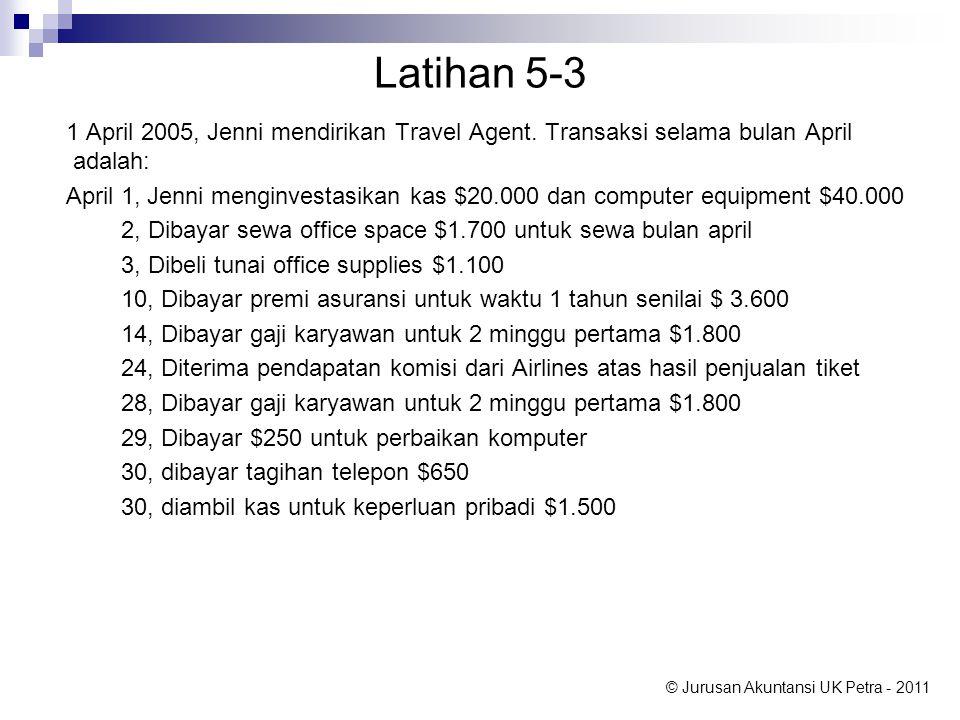 © Jurusan Akuntansi UK Petra - 2011 Latihan 5-3 1 April 2005, Jenni mendirikan Travel Agent.