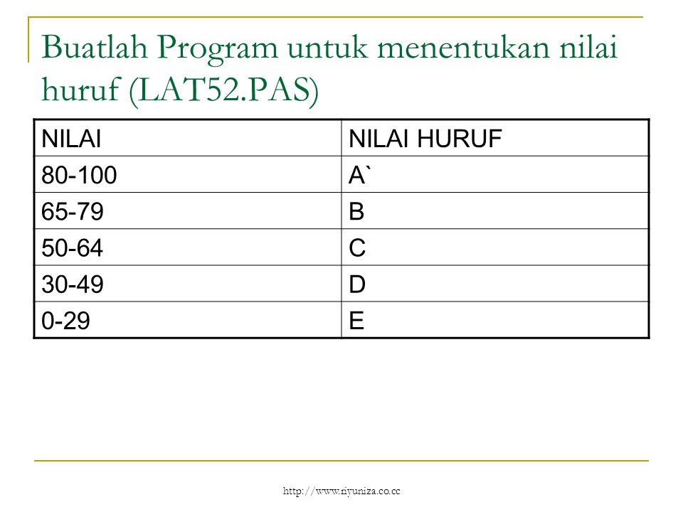 http://www.riyuniza.co.cc Buatlah Program untuk menentukan nilai huruf (LAT52.PAS) NILAINILAI HURUF 80-100A` 65-79B 50-64C 30-49D 0-29E