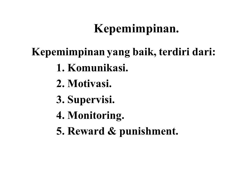 Kepemimpinan. Kepemimpinan yang baik, terdiri dari: 1. Komunikasi. 2. Motivasi. 3. Supervisi. 4. Monitoring. 5. Reward & punishment.