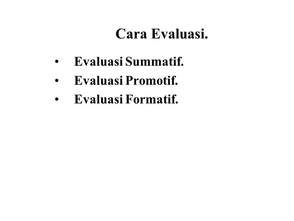 Cara Evaluasi. Evaluasi Summatif. Evaluasi Promotif. Evaluasi Formatif.