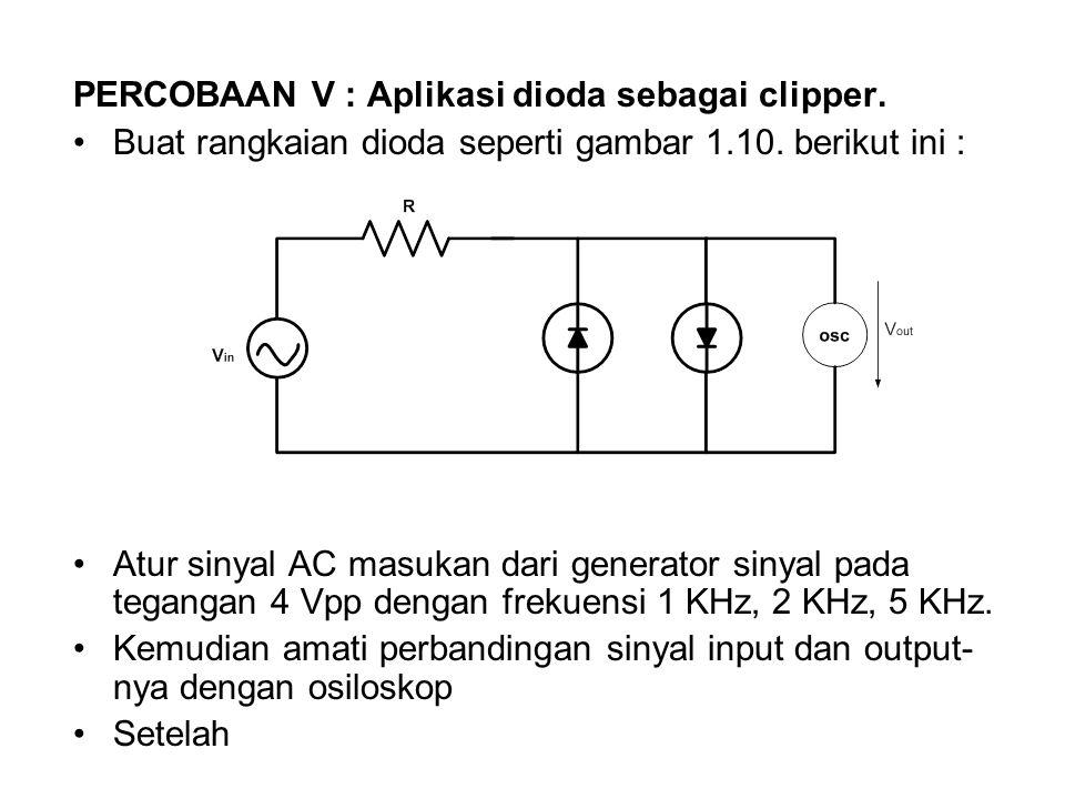 PERCOBAAN V : Aplikasi dioda sebagai clipper. Buat rangkaian dioda seperti gambar 1.10. berikut ini : Atur sinyal AC masukan dari generator sinyal pad