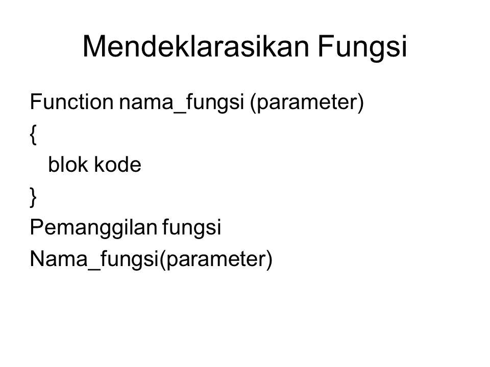 Mendeklarasikan Fungsi Function nama_fungsi (parameter) { blok kode } Pemanggilan fungsi Nama_fungsi(parameter)