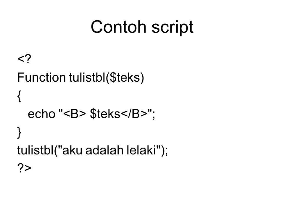 Contoh script <? Function tulistbl($teks) { echo $teks ; } tulistbl( aku adalah lelaki ); ?>