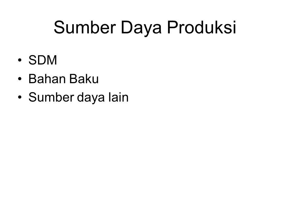 Sumber Daya Produksi SDM Bahan Baku Sumber daya lain