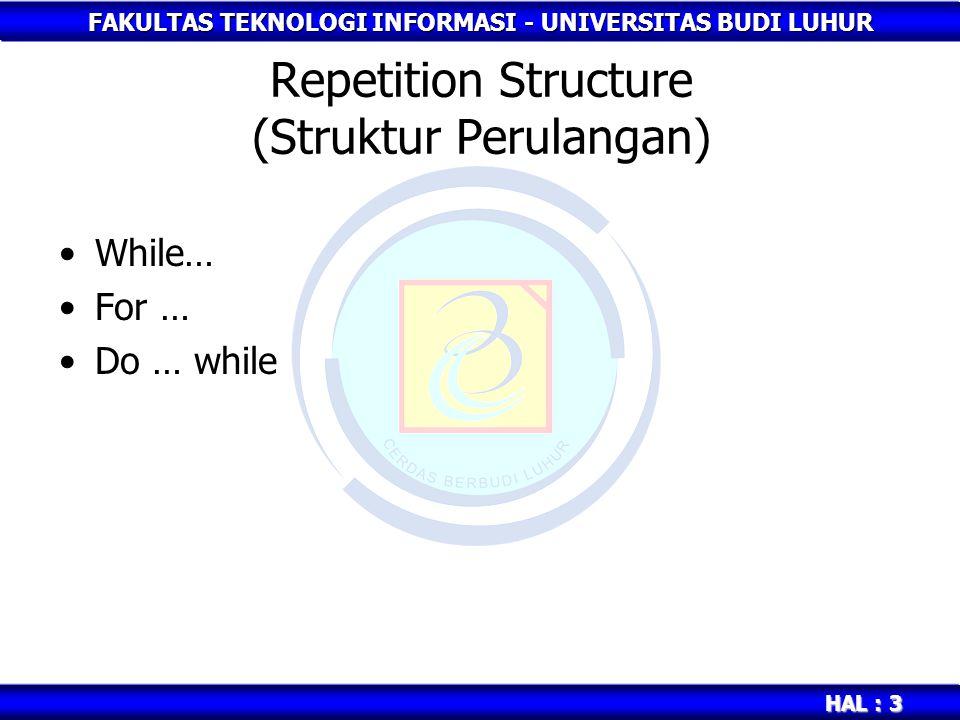 FAKULTAS TEKNOLOGI INFORMASI - UNIVERSITAS BUDI LUHUR HAL : 4 while … Bentuk 1 : while (kondisi) Statement; Bentuk 2 : while (kondisi) { Statement1; Statement2; … Statementn+1; }