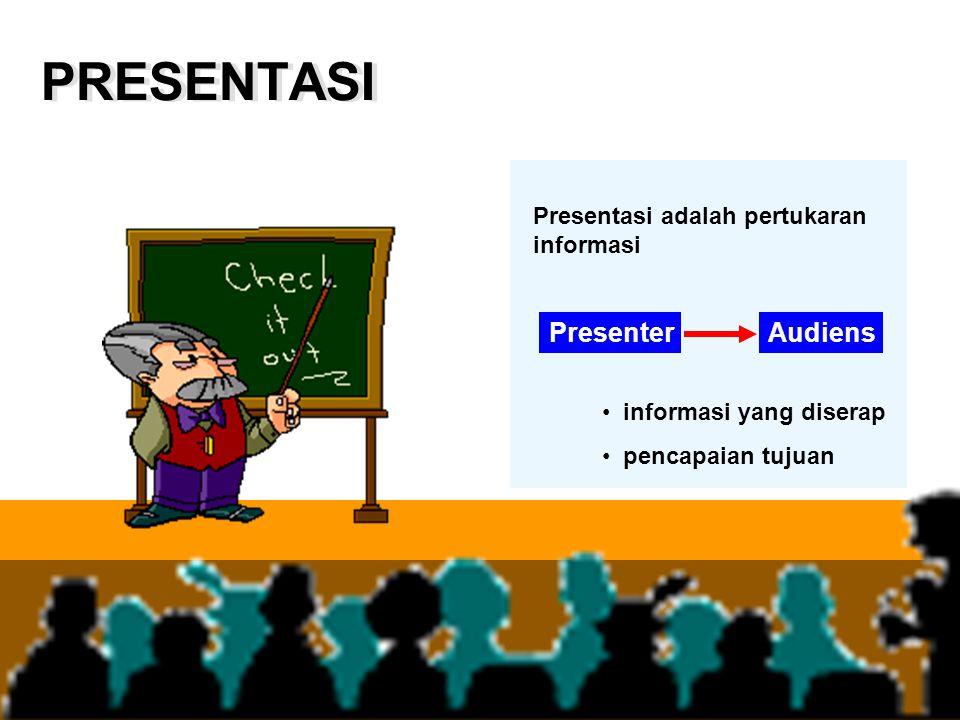 PRESENTASI PresenterAudiens informasi yang diserap pencapaian tujuan Presentasi adalah pertukaran informasi