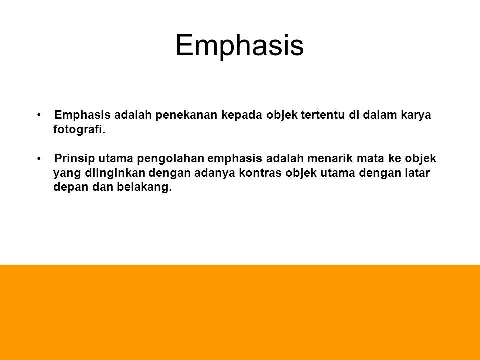 Emphasis Emphasis adalah penekanan kepada objek tertentu di dalam karya fotografi. Prinsip utama pengolahan emphasis adalah menarik mata ke objek yang