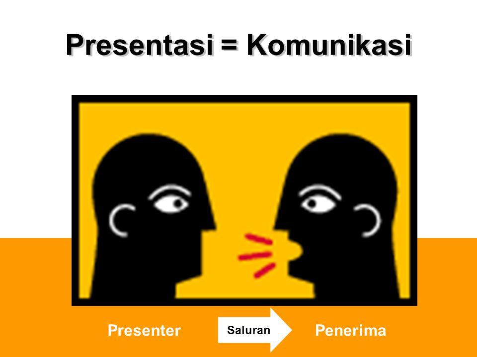 Presentasi = Komunikasi PresenterPenerima Saluran