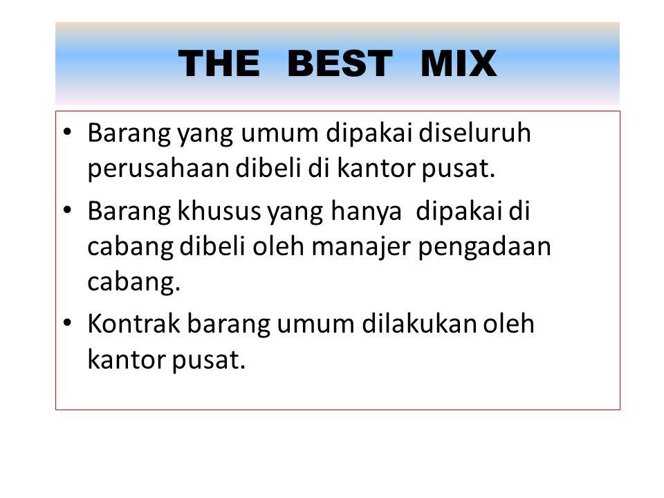 THE BEST MIX Barang yang umum dipakai diseluruh perusahaan dibeli di kantor pusat. Barang khusus yang hanya dipakai di cabang dibeli oleh manajer peng