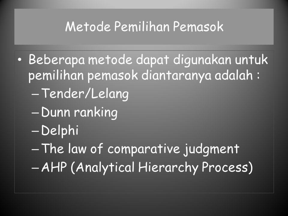 Metode Pemilihan Pemasok Beberapa metode dapat digunakan untuk pemilihan pemasok diantaranya adalah : – Tender/Lelang – Dunn ranking – Delphi – The la