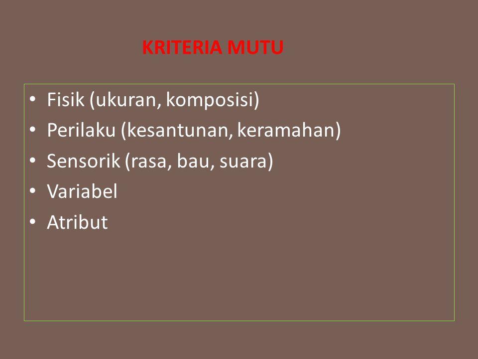 KRITERIA MUTU Fisik (ukuran, komposisi) Perilaku (kesantunan, keramahan) Sensorik (rasa, bau, suara) Variabel Atribut