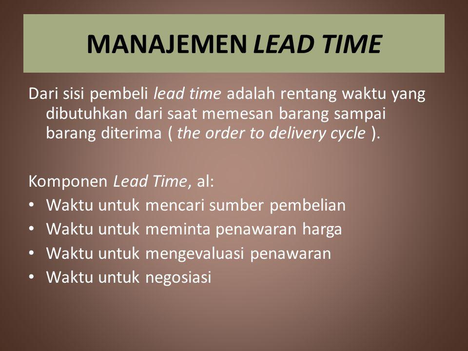 MANAJEMEN LEAD TIME Dari sisi pembeli lead time adalah rentang waktu yang dibutuhkan dari saat memesan barang sampai barang diterima ( the order to de