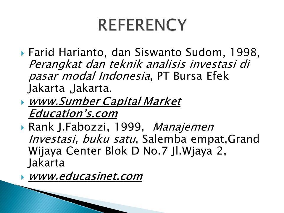  Farid Harianto, dan Siswanto Sudom, 1998, Perangkat dan teknik analisis investasi di pasar modal Indonesia, PT Bursa Efek Jakarta,Jakarta.