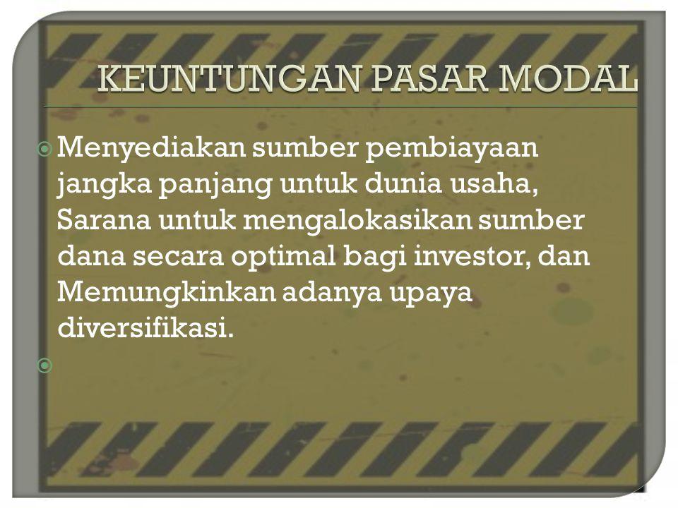  Memperoleh deviden bagi pemegang saham, memperoleh capital gain jika ada kenaikan harga saham, memperoleh bunga bagi pemegang obligasi, mempunyai hak suara dalam RUPS, dan dapat dengan mudah mengganti instrumen investasi
