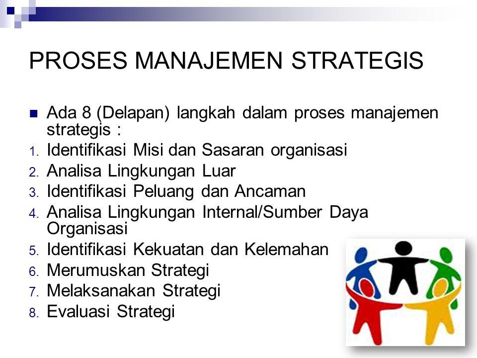 PROSES MANAJEMEN STRATEGIS Ada 8 (Delapan) langkah dalam proses manajemen strategis : 1.