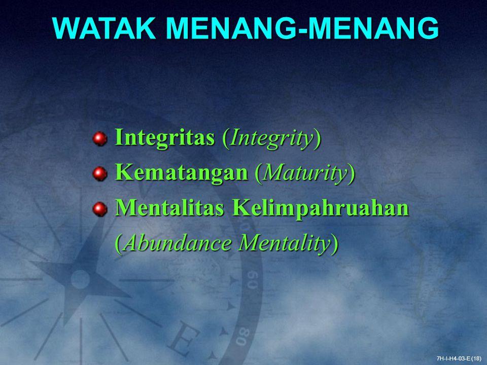 7H-I-H4-03-E (18) WATAK MENANG-MENANG Integritas (Integrity) Integritas (Integrity) Kematangan (Maturity) Kematangan (Maturity) Mentalitas Kelimpahrua