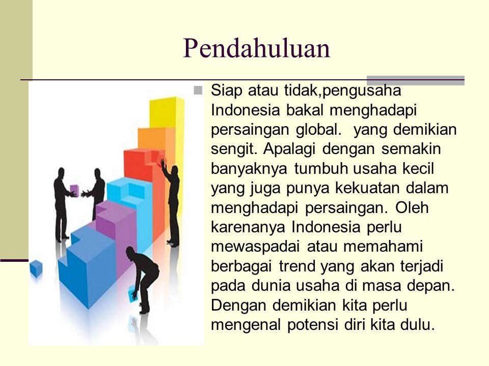 Pendahuluan Siap atau tidak,pengusaha Indonesia bakal menghadapi persaingan global.