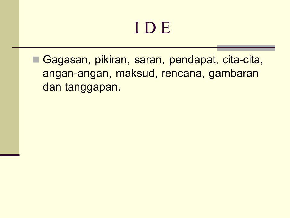 I D E Gagasan, pikiran, saran, pendapat, cita-cita, angan-angan, maksud, rencana, gambaran dan tanggapan.