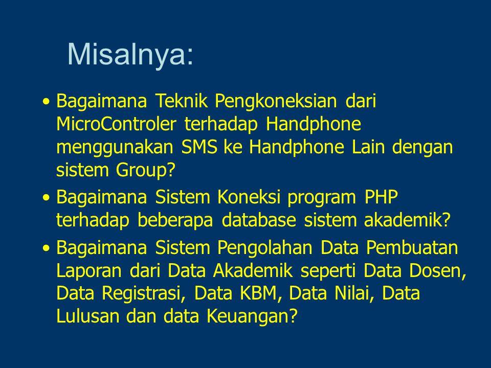 Misalnya: Bagaimana Teknik Pengkoneksian dari MicroControler terhadap Handphone menggunakan SMS ke Handphone Lain dengan sistem Group? Bagaimana Siste